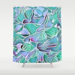 Flowing Soft Petal Abstract - Blue - Green Shower Curtain