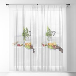 Swedish brunch Sheer Curtain