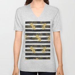 Golden bee noir Unisex V-Neck