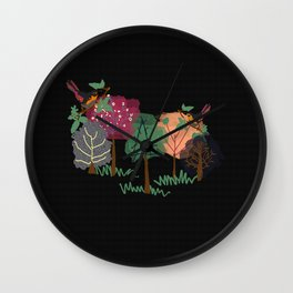 Nature's Essences Collection-Black Background Wall Clock