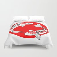 japanese Duvet Covers featuring Japanese Kois by Art & Be