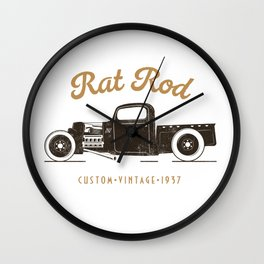 Rat Rod T-shirt Vintage Wall Clock