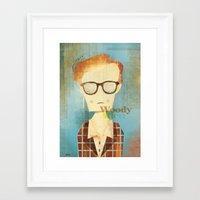 woody allen Framed Art Prints featuring Woody Allen  by Adam Quest