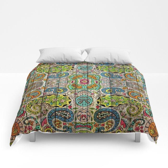 Kashmir on Wood 03 Comforters
