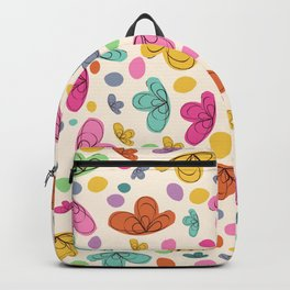 Summer Colorful Flowers Abstract Illustration Backpack