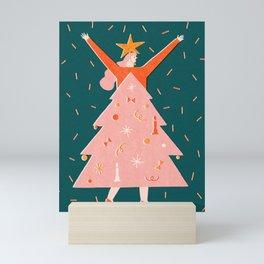 Christmas tree dress Mini Art Print