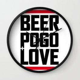 Beer, pogo & love whi Wall Clock