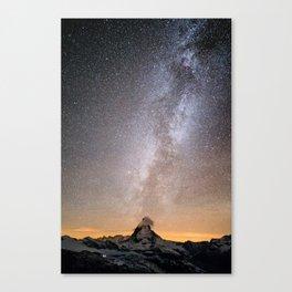 Matterhorn with milkyway Canvas Print