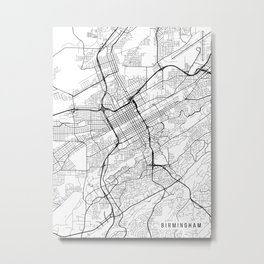 Birmingham Map, Alabama USA - Black & White Portrait Metal Print