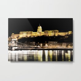 Budapest Chain Bridge And Castle Art Metal Print