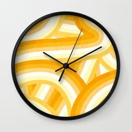 Mellow Yellow and Orange 70's Style Rainbow Stripes Wall Clock
