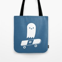 skate Tote Bags featuring Skate Ghost by Terry Irwin