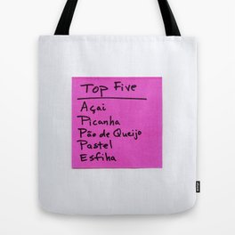 TOP FIVE Food in Brazil Tote Bag