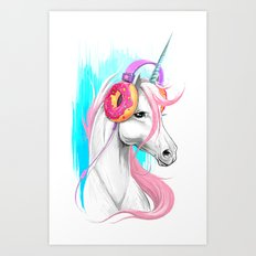 Unicorn in the headphones of donuts Art Print
