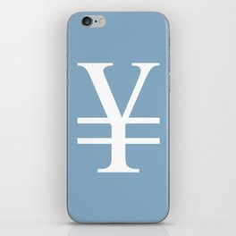 yuan currency sign on placid blue background iPhone Skin