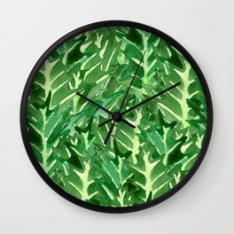 Holly Jolly Leaves (Large Pattern) Wall Clock