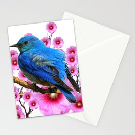 DECORATIVE BLUE BIRD & PINK HOLLYHOCKS VIGNETTE Stationery Cards
