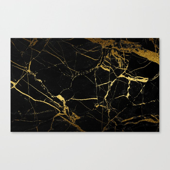 back & gold marble Canvas Print