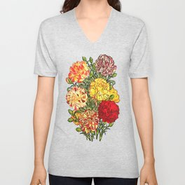Carnation Bouquet Repeat Pattern Unisex V-Neck