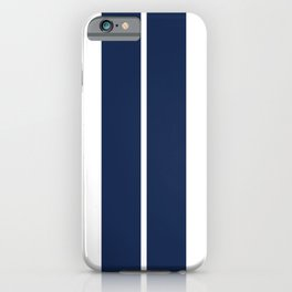 Blue on White Racing Stripes iPhone Case