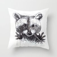 racoon Throw Pillows featuring Racoon by Faustine BLESSON