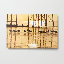 Beautiful sunrise over English Channel horizon and Eastbourne pier, East Sussex, UK Metal Print