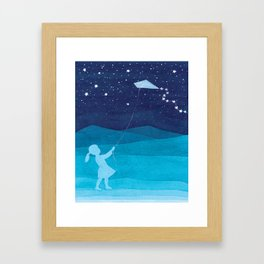 Girl with a kite, blue kids watercolor Framed Art Print