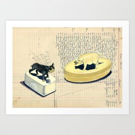 Vintage Pig and Dog Celluloid Boxes in Gouache Art Print