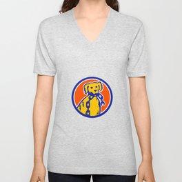 Retriever Dog Biting Broken Chain Mascot Unisex V-Neck