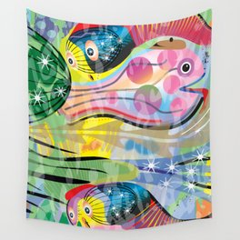 Hippy Fish in Rainbow Glow Wall Tapestry