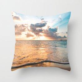 sunset sky over ocean - beach with sunset sky horizon Throw Pillow