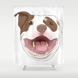 White/Brown Pitbull Shower Curtain