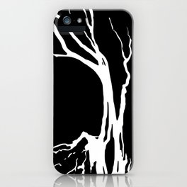 Black and White Tree on a Hill iPhone Case