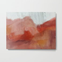 Desert Journey [2]: a textured, abstract piece in pinks, reds, and white by Alyssa Hamilton Art Metal Print