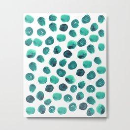 Esme - painted brushstroke emerald jade mint dots polka dots pattern design  Metal Print