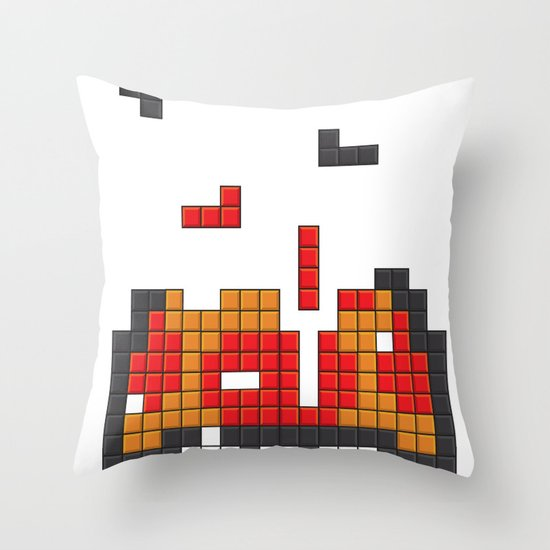 Super Mario Mushroom Tetris Throw Pillow