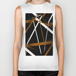Seamless Sienna and White Stripes on A Black Background Biker Tank
