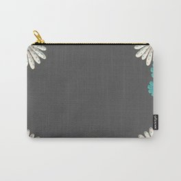 Gray,blue flowers Carry-All Pouch