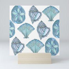 Watercolor Blue Seashells  Mini Art Print