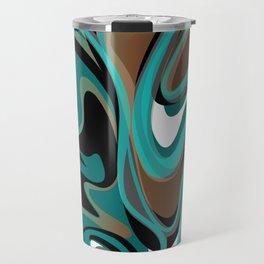 Liquify - Brown, Turquoise, Teal, Black, White Travel Mug
