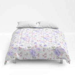 Lavender gray elegant vintage roses floral Comforters