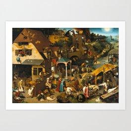Pieter Bruegel the Elder - Netherlandish Proverbs Art Print