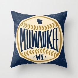 Milwaukee Wisconsin Hand Drawn Script Design Throw Pillow