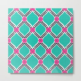 Turquoise and Pink Floral Ogee Pattern Metal Print