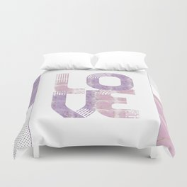 Graphic Art Gold LOVE | rose and violet Duvet Cover