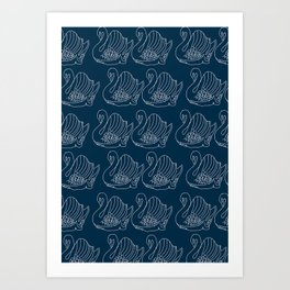 Crown Lynn Swan Pattern on Navy Art Print