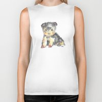 yorkie Biker Tanks featuring Yorkie Pup by The Painted Lace