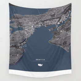 Seattle City Map II Wall Tapestry