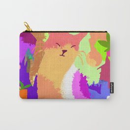 Cat with Abstract Background Carry-All Pouch
