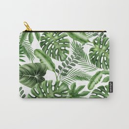 Tropical Leaves Pattern - Monstera and Banana Leaves Carry-All Pouch